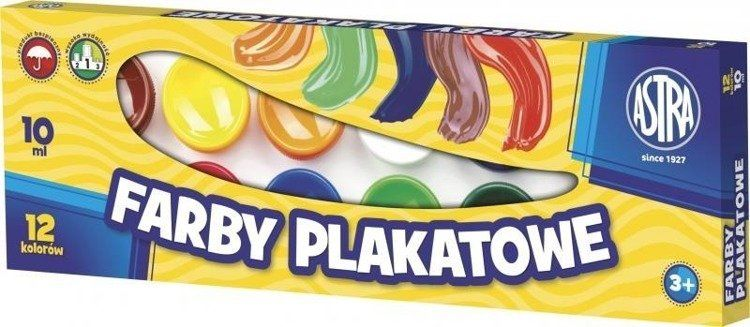 Farby plakatowe 12 kolorów 10ml ASTRA - ASTRA papiernicze