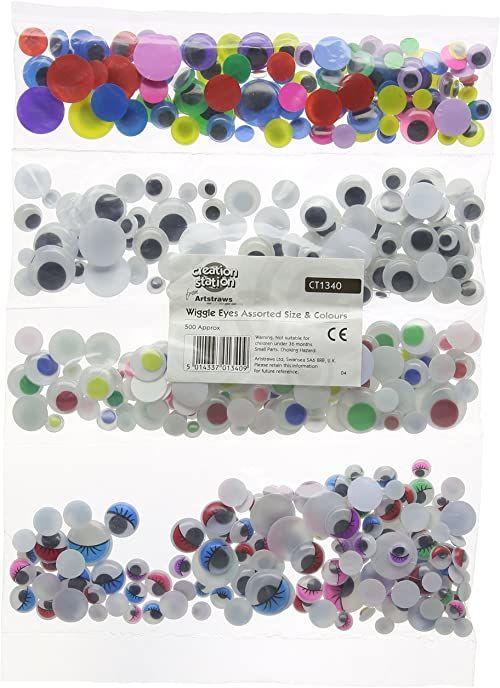Creation Station Ruchome oczy, różne rozmiary, odmiany: czarny/z rzęsami/kolorowe źrenice, opakowanie 500 szt