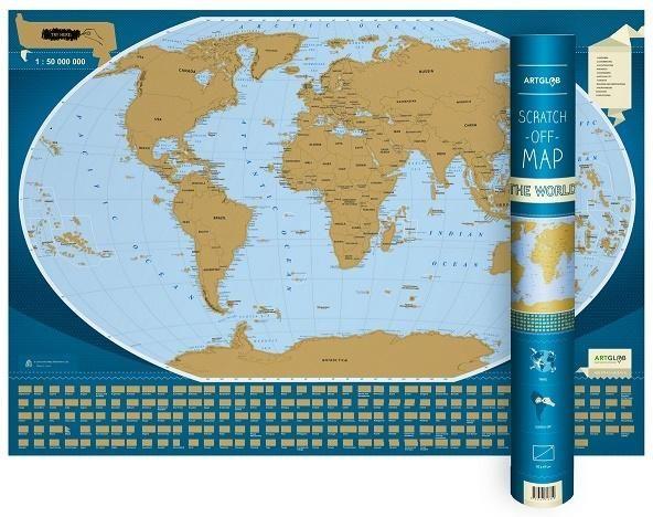 Mapa zdrapka - Świat/The Word 1:50 000 000 w.ang ZAKŁADKA DO KSIĄŻEK GRATIS DO KAŻDEGO ZAMÓWIENIA
