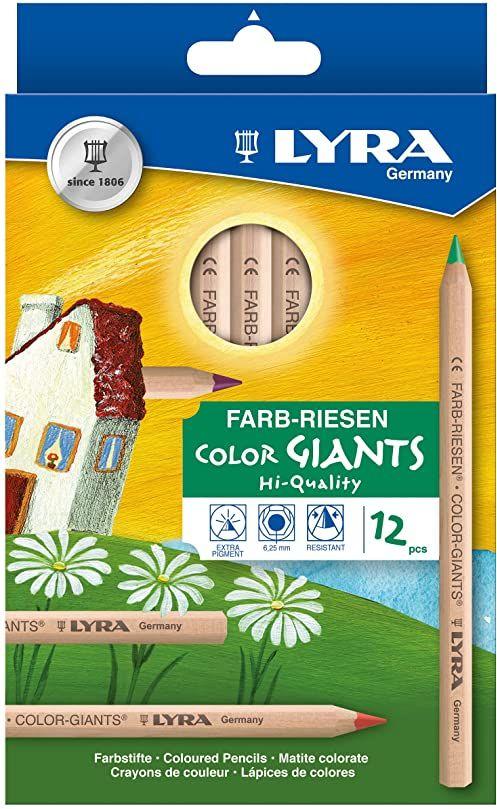 LYRA Ogromne kolorowe naturalne kartonowe etui z 12 kolorowymi pisakami, posortowane