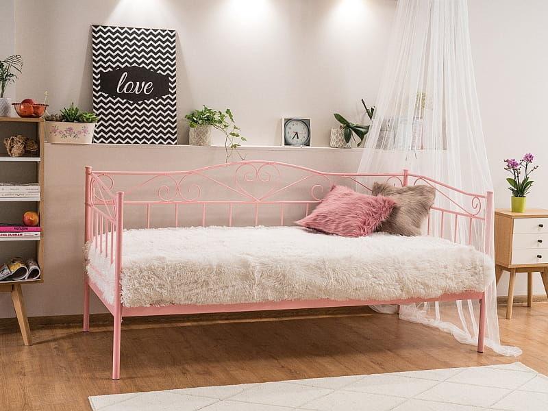 Łóżko metalowe BIRMA 90x200 różowe