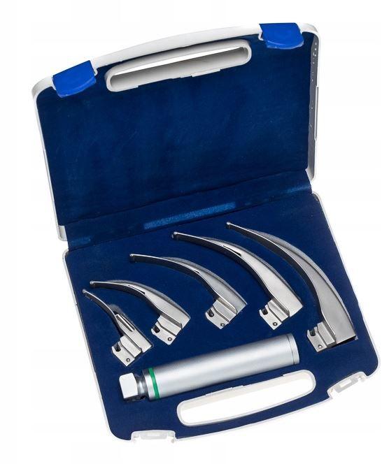 Laryngoskop światłowodowy MCINTOSH z 5 łyżkami