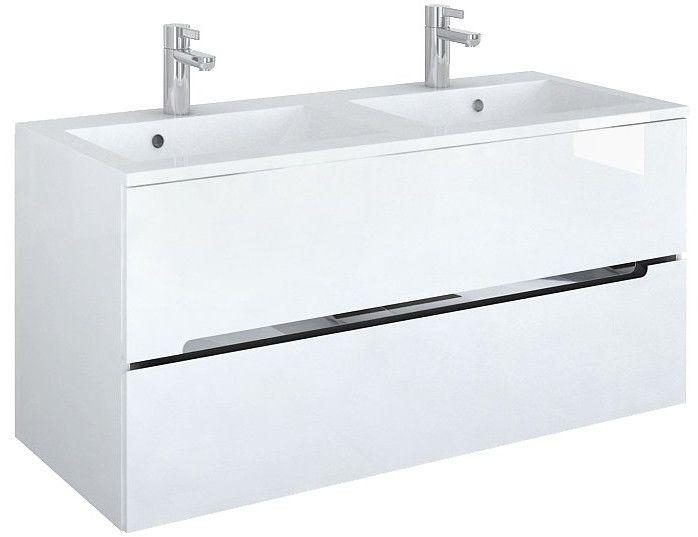 Oristo Silver szafka z umywalką Alpina 120x55x44cm biały połysk OR33-SD2S-120-1-D/UME-SI-120-92-D