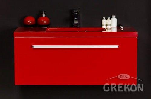 Szafka łazienkowa czerwona 100cm z czerwoną umywalką dolomitową Clever 100x39, Styl Nowoczesny, FOKUS Gante