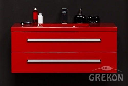 Szafka łazienkowa czerwona 100cm z czerwoną umywalką dolomitową Clever 100x39, 2 szuflady Styl Nowoczesny, FOKUS Gante