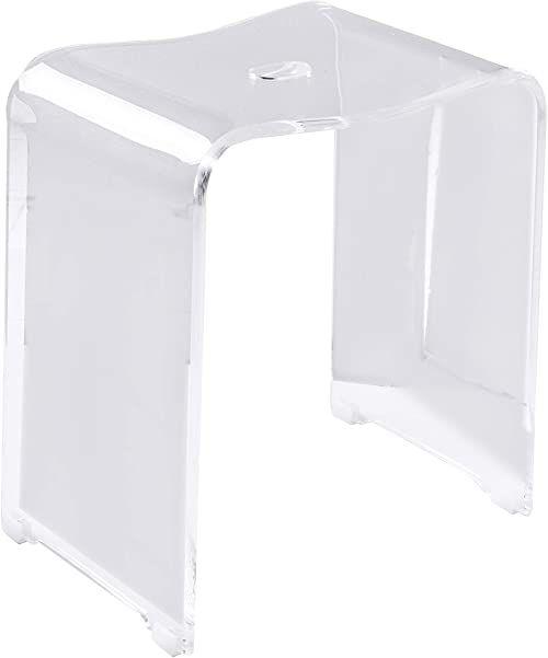 Ridder A211100 modny taboret łazienkowy, akryl, przezroczysty, ok. 39 x 47 x 28 cm