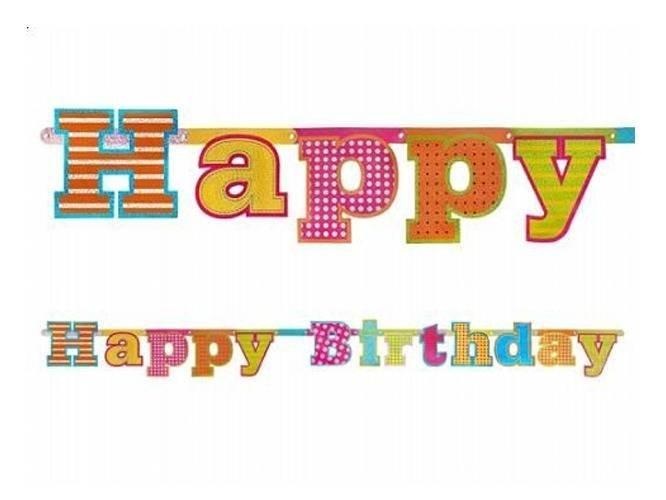 Baner urodzinowy Happy Birthday - 16 x 166 cm - 1 szt.