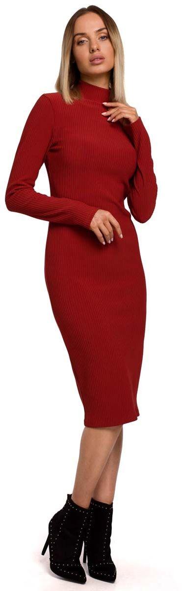 ołówkowa sukienka z półgolfem - ceglasta