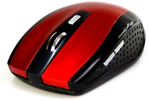 RATON PRO - Bezprzewodowa mysz optyczna, rozmiar średni, zmienna rozdzielczość do 1600CPI, 5 przycisków i rolka, zasilanie: 2xAAA - czerwona
