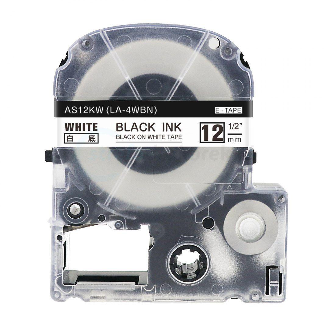 Taśma Epson AS-12KW LA-4WBN 12mm x 8m biała czarny nadruk - zamiennik