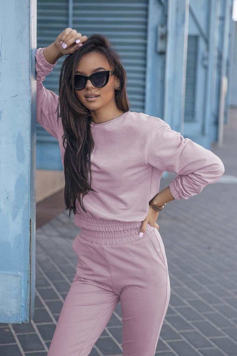 Dresowy komplet nierozpinana bluza i dopasowane spodnie - różowy