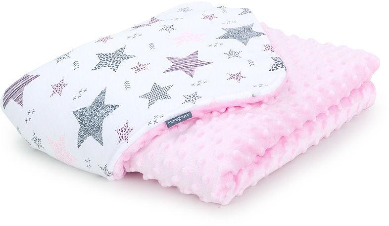 MAMO-TATO Kocyk Minky dla niemowląt i dzieci 75x100 Starmix różowy / jasny róż