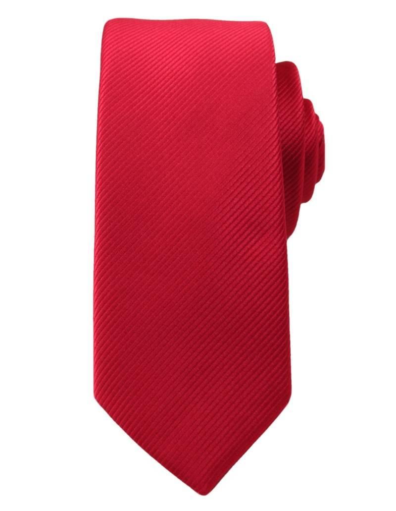 Krawat Męski w Delikatny Prążek ŚLEDŹ (wąski) - 5 cm - Angelo di Monti, Czerwony KRADM1124