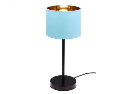 Lampa stołowa czarna niebiesko-złoty abażur