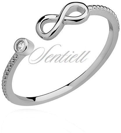 Srebrny delikatny pierścionek pr.925 cyrkonia biała - nieskończoność