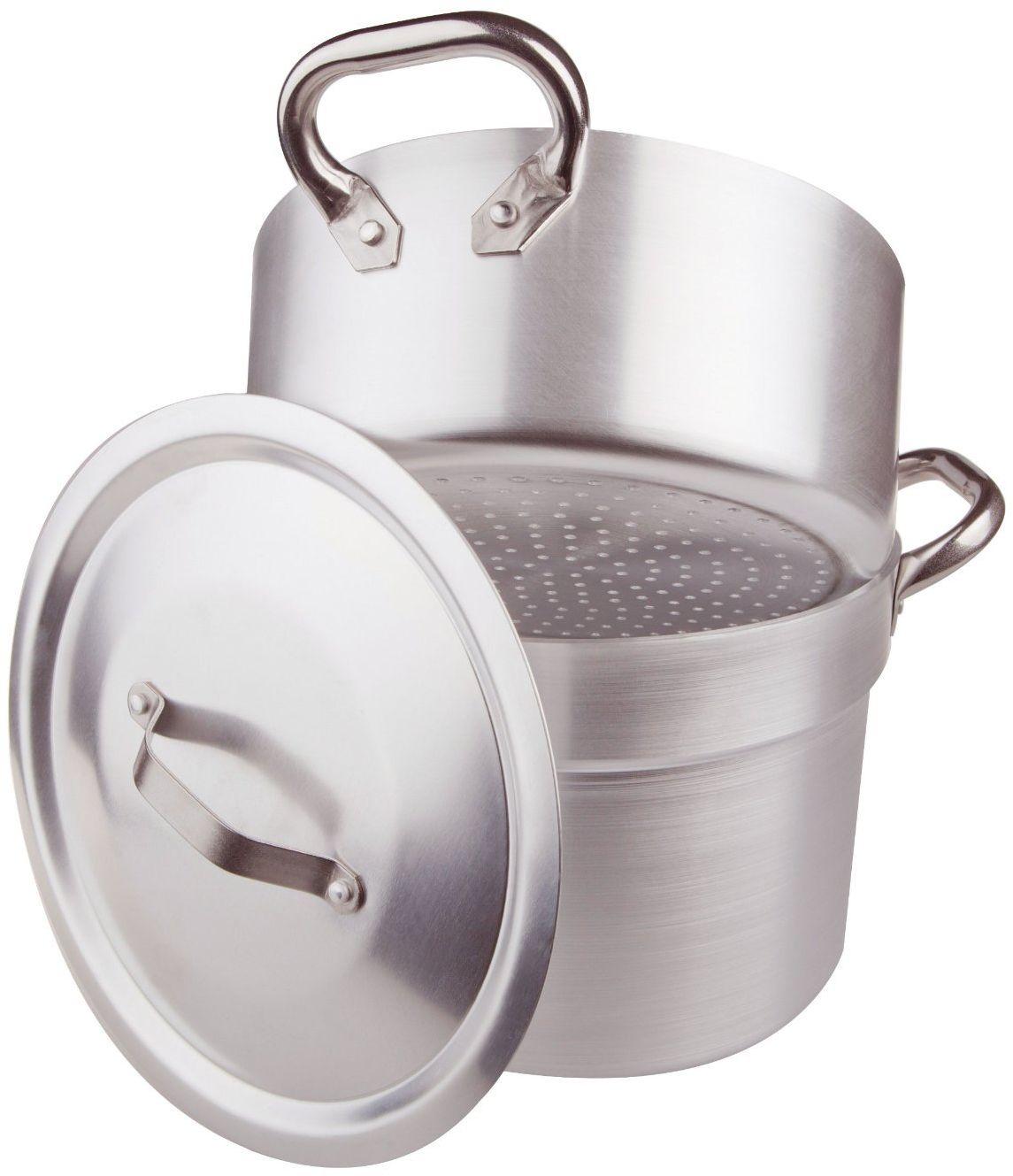 Pentole Agnelli Garnek do gotowania cuociverdure i parowar, z garnkiem na płytę kuchenną, grubość 3 mm, w komplecie z pokrywą i dwoma uchwytami ze stali nierdzewnej 40 cm