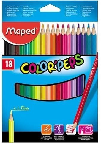 Kredki Colorpeps trójkątne 18 kolorów MAPED