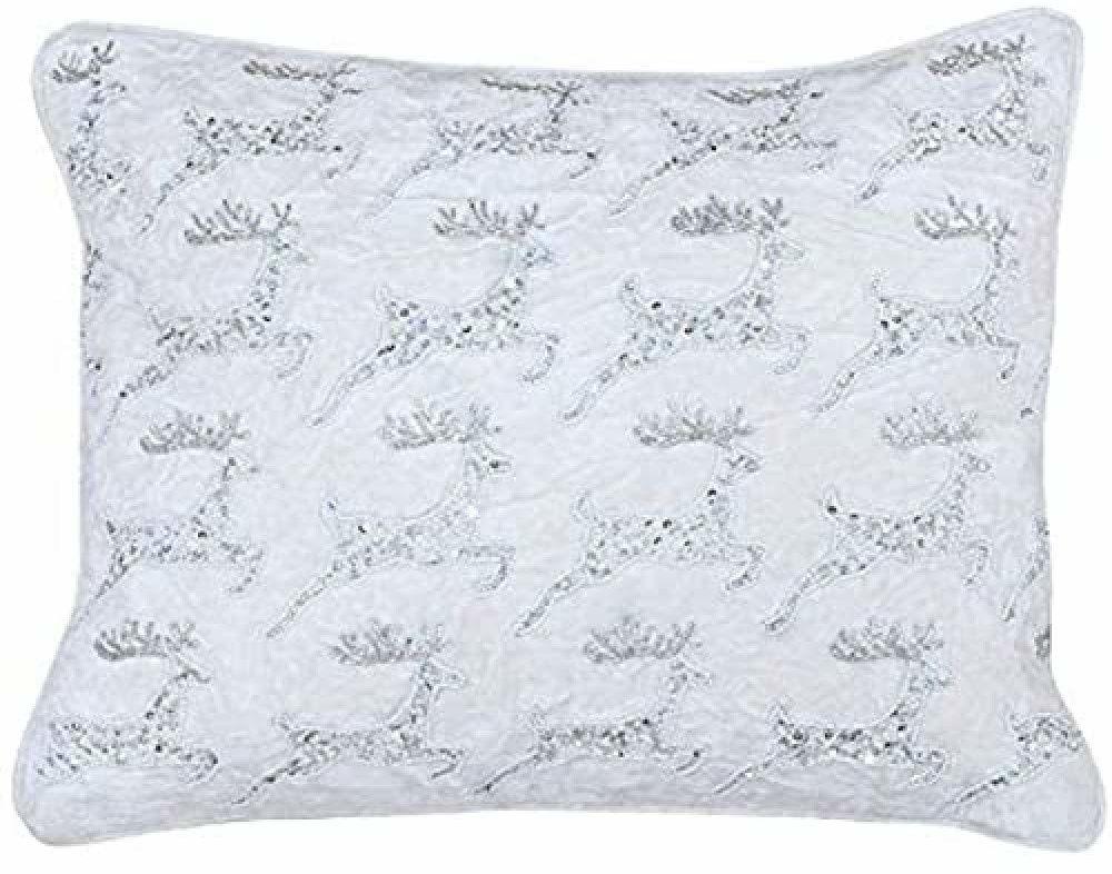 Riva Paoletti Boże Narodzenie poduszka wypełniona piór - biała - haft z cekinami renifera - aksamitna tkanina - obszyte krawędzie - 60% bawełna 40% wiskoza - 35 x 50 cm (14 cali x 20 cali), 50 x 50 cm