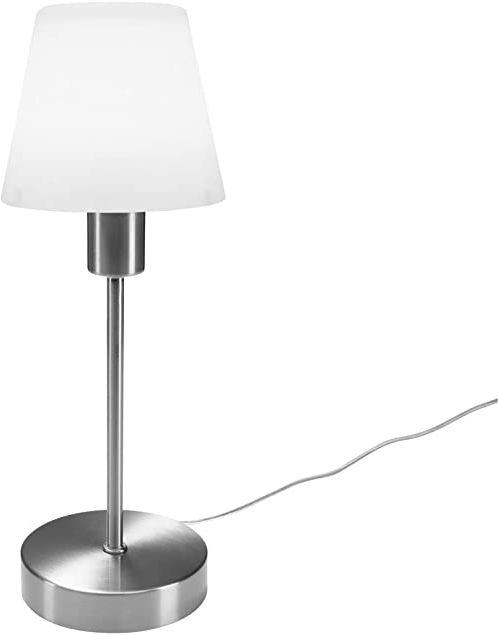 Lampa stołowa ze ściemniaczem dotykowym w klasycznym wzornictwie - szklany klosz lampy opal biały i podstawa nikiel matowy - nowa generacja TOUCH nadaje się do LED