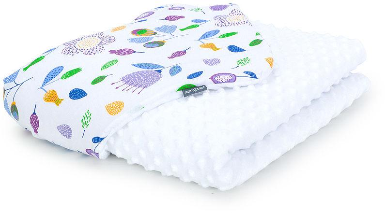 MAMO-TATO Kocyk Minky dla niemowląt i dzieci 100x135 Łąka fiolet / biały