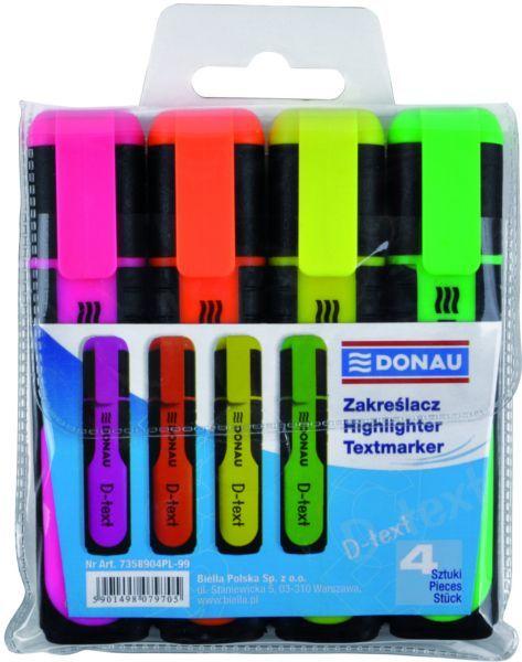 Zakreślacz DONAU D-TEXT 4 kol. fluorescencyjny - X08174
