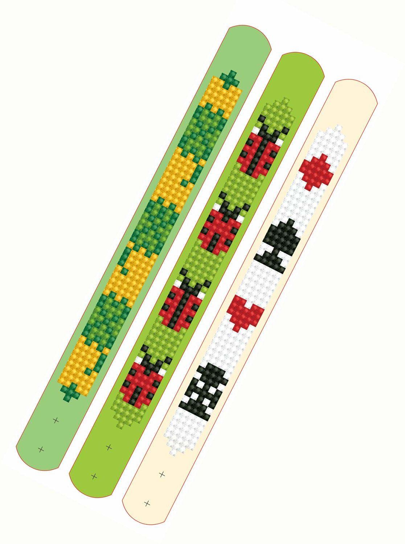 DTZ11-004 Diamond Dotzies zestaw bransoletek z symbolami szczęścia, 3 błyszczące bransoletki do samodzielnego wykonania, z regulacją długości, idealne dla dzieci