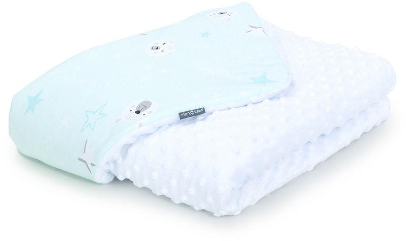 MAMO-TATO Kocyk Minky dla niemowląt i dzieci 100x135 Miśki na miętowym / biały