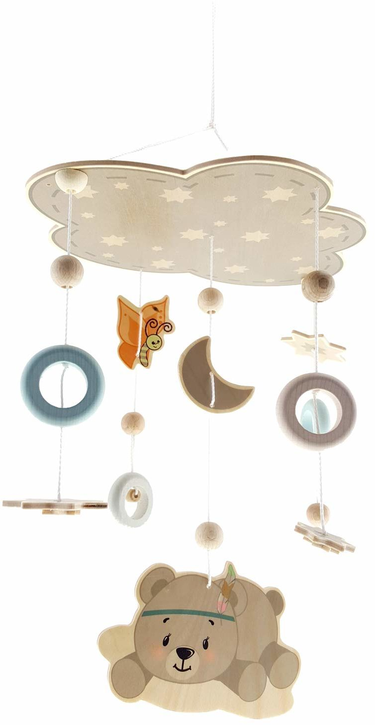 Hess drewniana zabawka 10273 - mobilna z drewna, niedźwiedź naturalny, do zawieszenia nad łóżkiem lub komodą do przewijania, ok. 32 x 50 cm
