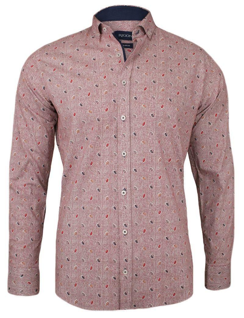 Czerwona Koszula Męska - RIGON - Krój Prosty, Długi Rękaw, Wzór Paisley KSDWRGN0801czerw