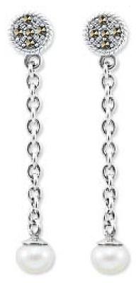 Staviori Kolczyki ze srebrna pr.925 naturalne perły na łańcuszku i markazyty
