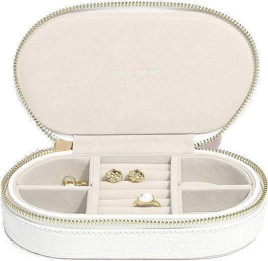 Pudełko na biżuterię podróżne travel owalne croc białe