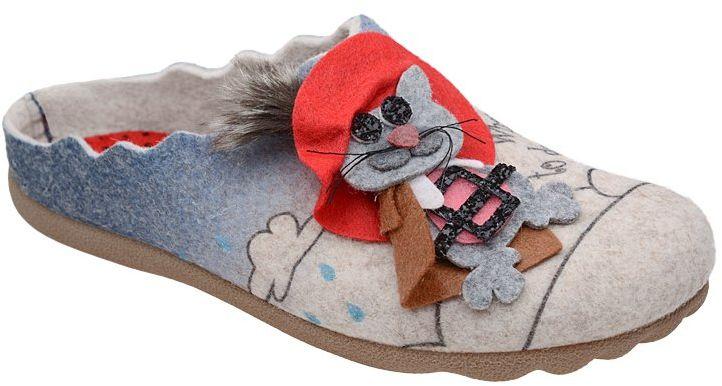 Kapcie MANITU 320570-8 Beige Puss in Boots Pantofle domowe Ciapy - Beżowy Multikolor