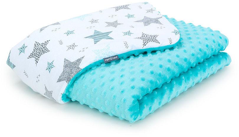 MAMO-TATO Kocyk Minky dla niemowląt i dzieci 100x135 Starmix turkus / turkus