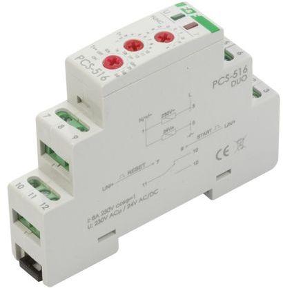 Przekaźnik czasowy 1P 8A 0,1sek-576h 230V AC, 24V AC/DC wielofunkcyjny PCS-516DUO