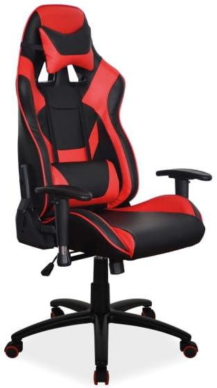 Fotel gamingowy obrotowy SUPRA czerwony/czarny