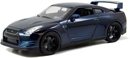 Jada Toys Fast & Furious Brian''s 2009 Nissan GT-R (R35), auto, model tuningowy w skali 1:24, ze spojlerem, otwieranymi drzwiami, maską silnika i bagażnikiem, wolnobieg, niebieski