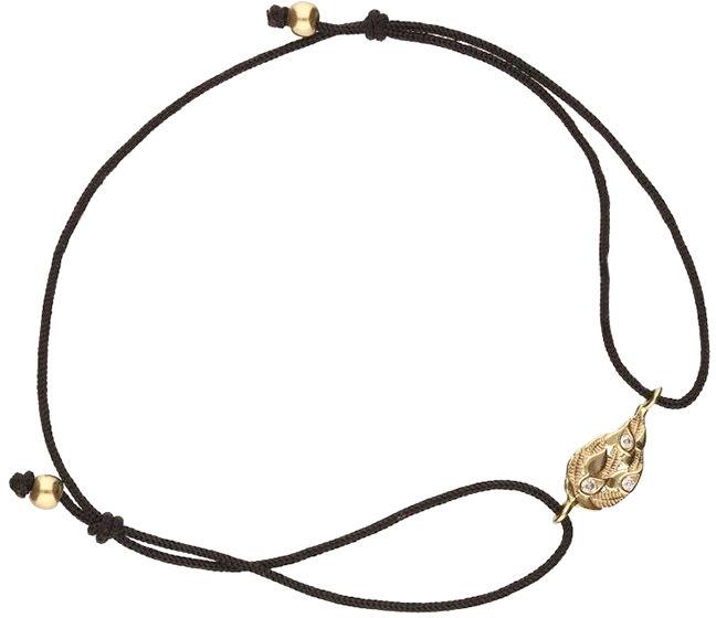 Złota bransoletka 333 sznurkowa z listkiem 0,50 g