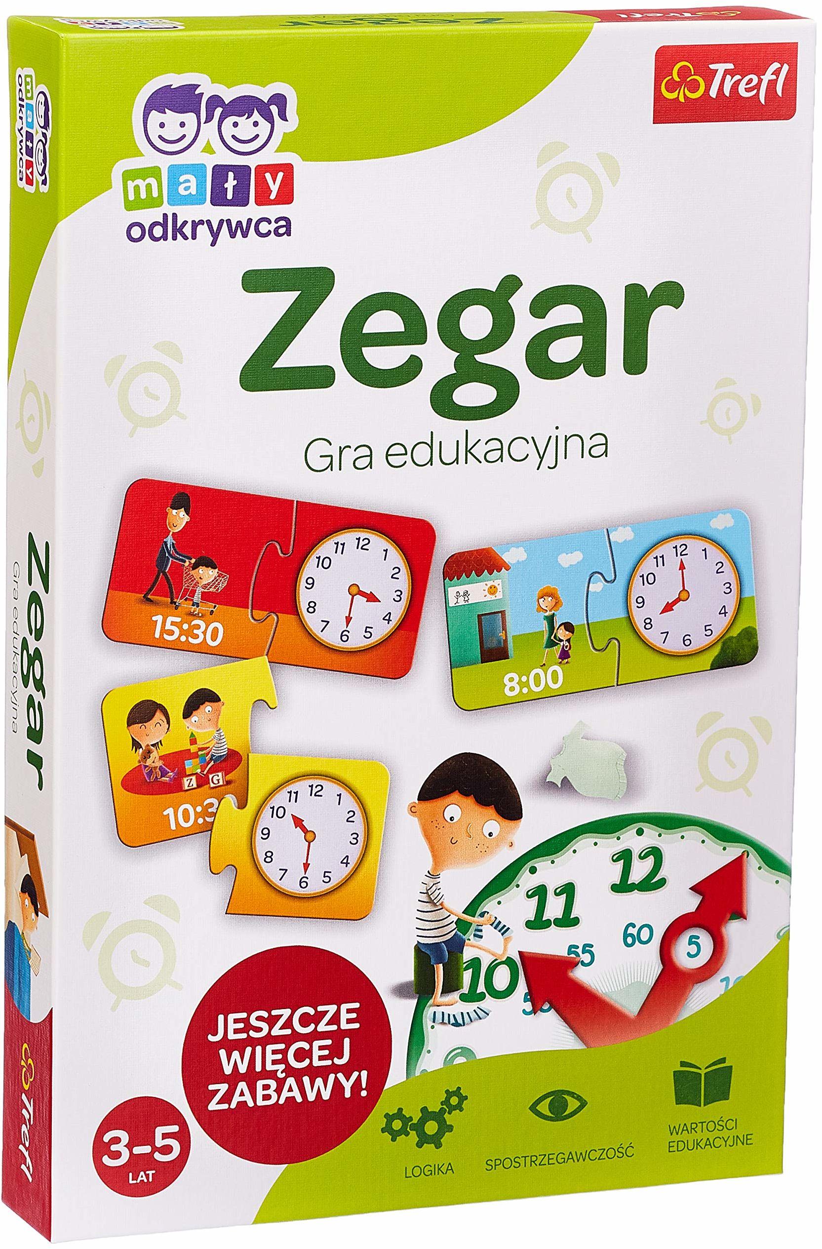 Trefl Zegar  Mały Odkrywca Gra Edukacyjna dla Dzieci w wieku 3  -  5 lat