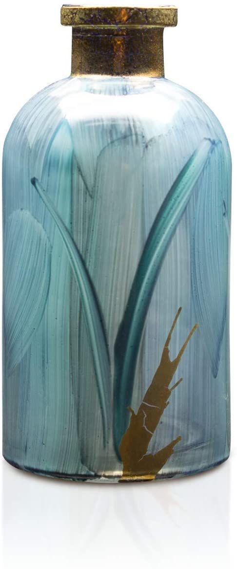 Angela Neue Wiener Werkstätte Wazon na butelkę shabby Aqua wazony z kolorowego szkła, niebieski, 7 cm