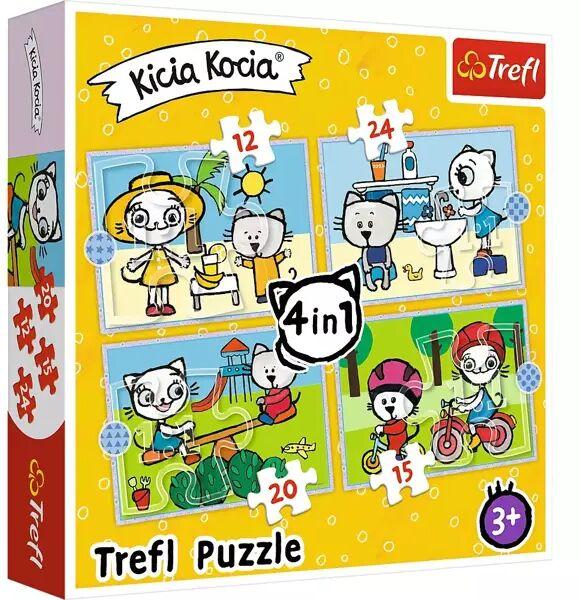 Puzzle 4w1 (12,15,20,24) Dzień Kicia Kocia 34372 - Trefl PAP