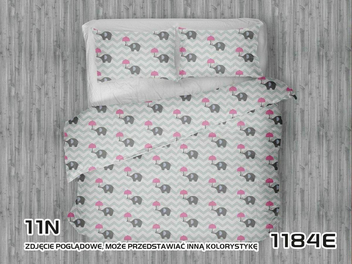Pościel bawełniana 100x135 1184E Słoniki szare zygzak biały parasol różowy