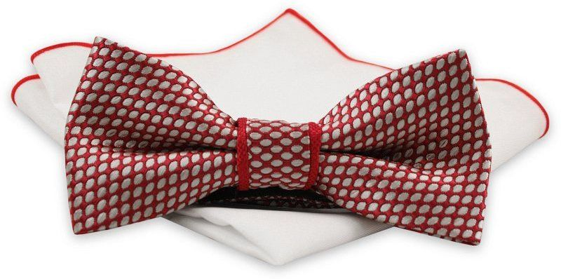 Czerwona Mucha z Białą Poszetką -CHATTIER- Męska, w Białe Kropki, Groszki MUCH0565