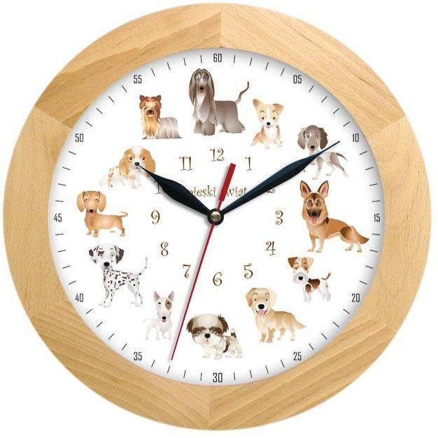 Drewniany zegar ścienny z psami Atrix ATW300P1 JES SW 30 cm