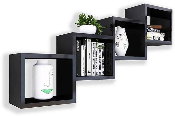 Czarna wisząca półka w stylu loft - Ritta