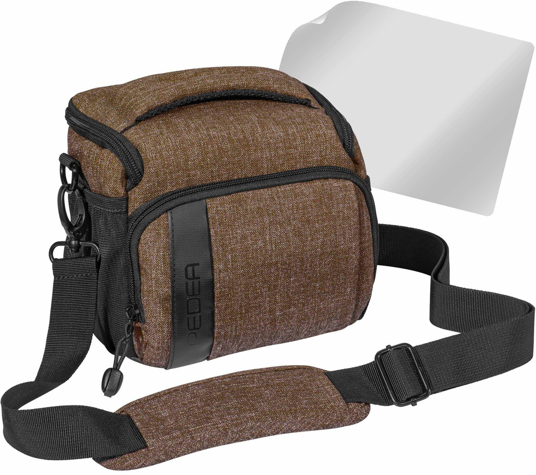 """PEDEA DSLR torba na aparat """"Fashion"""" z folią ochronną na wyświetlacz do Canon EOS 5D Mark II 400D 2000D / Nikon D60 D80 D90 D3100 D3200 D3300 D3400 D5300 D7100 / Pentax K 50 K 500, rozm. L brązowy"""