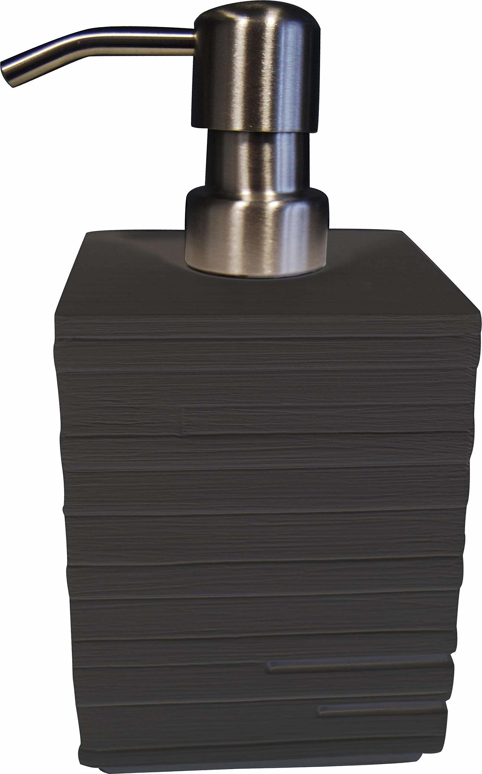 Grund BRICK dozownik mydła 8 x 8 x 16 cm, czarne akcesoria, 100% żywica poliestrowa, 8 x 8 x 16 cm