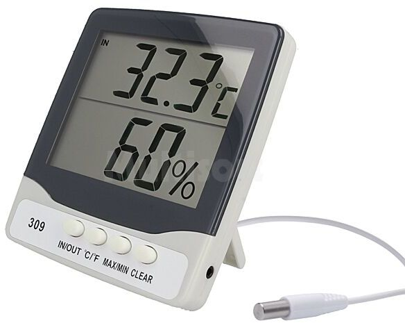 Termohigrometr LCD 0,1 C Zakres pomiaru temp.zewn -50 70 C
