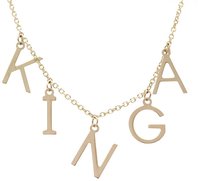 Złoty naszyjnik 585 łańcuszkowa z imieniem Kinga 2,28 g