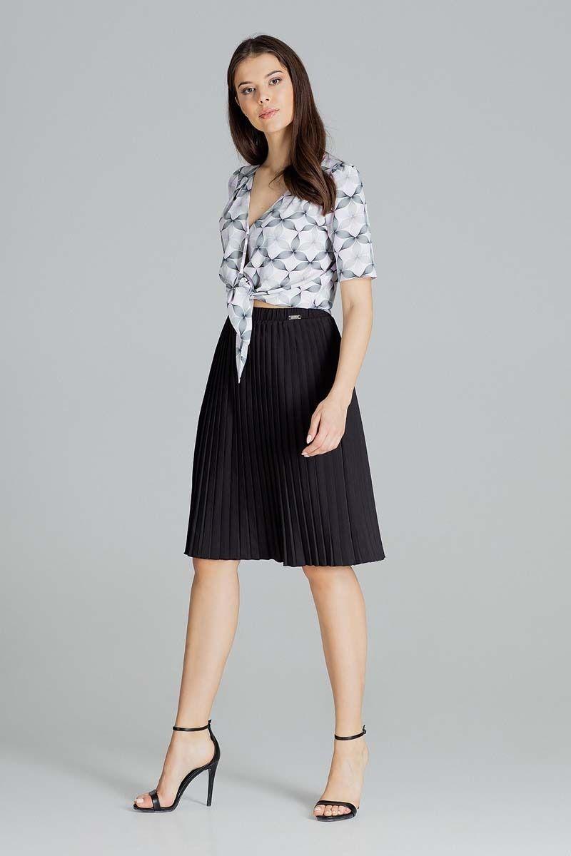 Czarna plisowana midi spódnica
