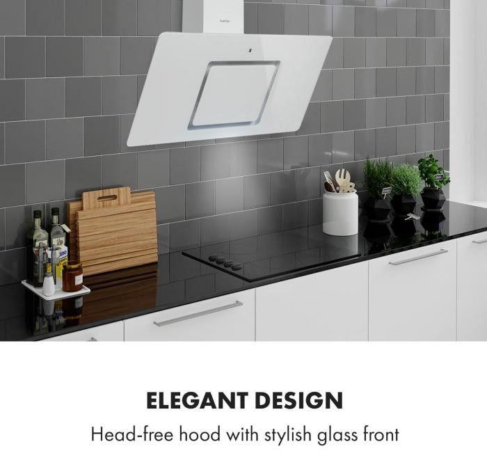 Klarstein Sofia 90, okap kuchenny, panel dotykowy, front szklany, 300 m3/h, biały